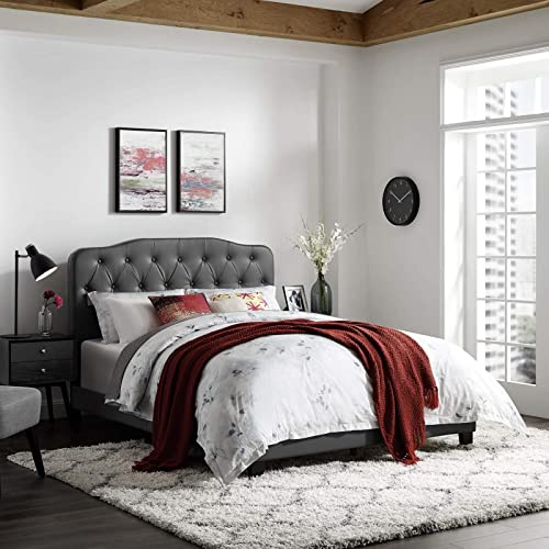 Modway Amelia Tufted Faux Leather Upholstered Queen Platform Bed