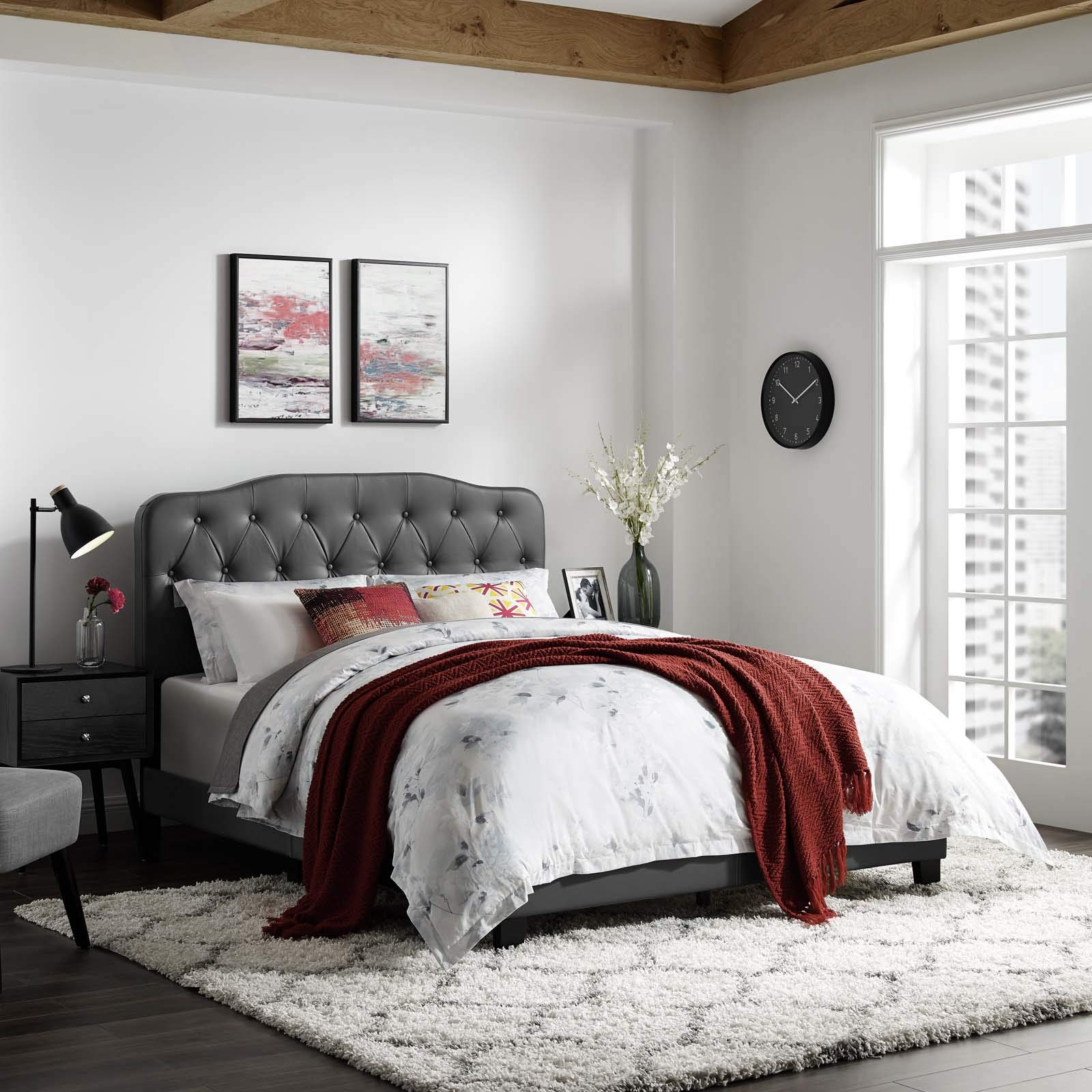 Modway MOD-5990-GRY Amelia Twin Faux Leather Bed, Gray