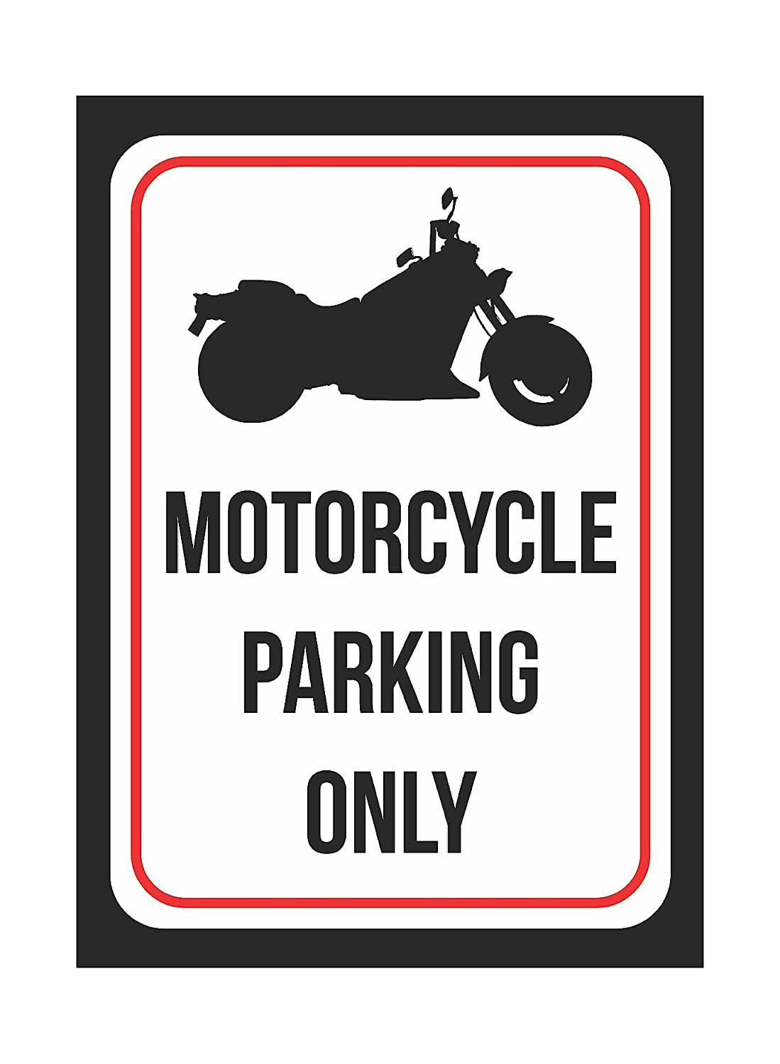 7.5x10.5 Inch Motorcycle Parking Only Print Black and White Black Metal Picture Symbol Small Sign 1 Pack of Signs