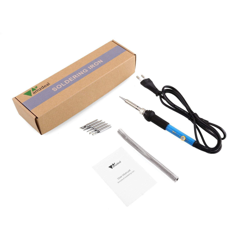 Amzdeal Kit del Soldador 60W 220V Soldador de Temperatura Ajustable 5pcs Puntas diferentes: Amazon.es: Bricolaje y herramientas