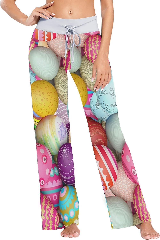 XUWU Womens Loose Casual Comfy Pajama Pants Drawstring Palazzo Wide Leg Lounge Pants