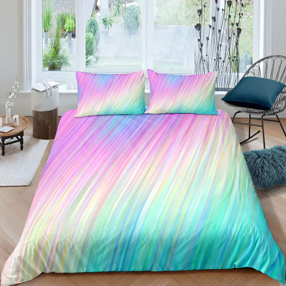 Amazon Com Colorful Marble Duvet Cover Full Size Girls Rainbow Color Pattern Bedroom Decor Bedding Set Full Size Abstract Stripe Printed Decor Comforter Cover With Zipper Ties 1 Duvet Cover With 2 Pillow Cases