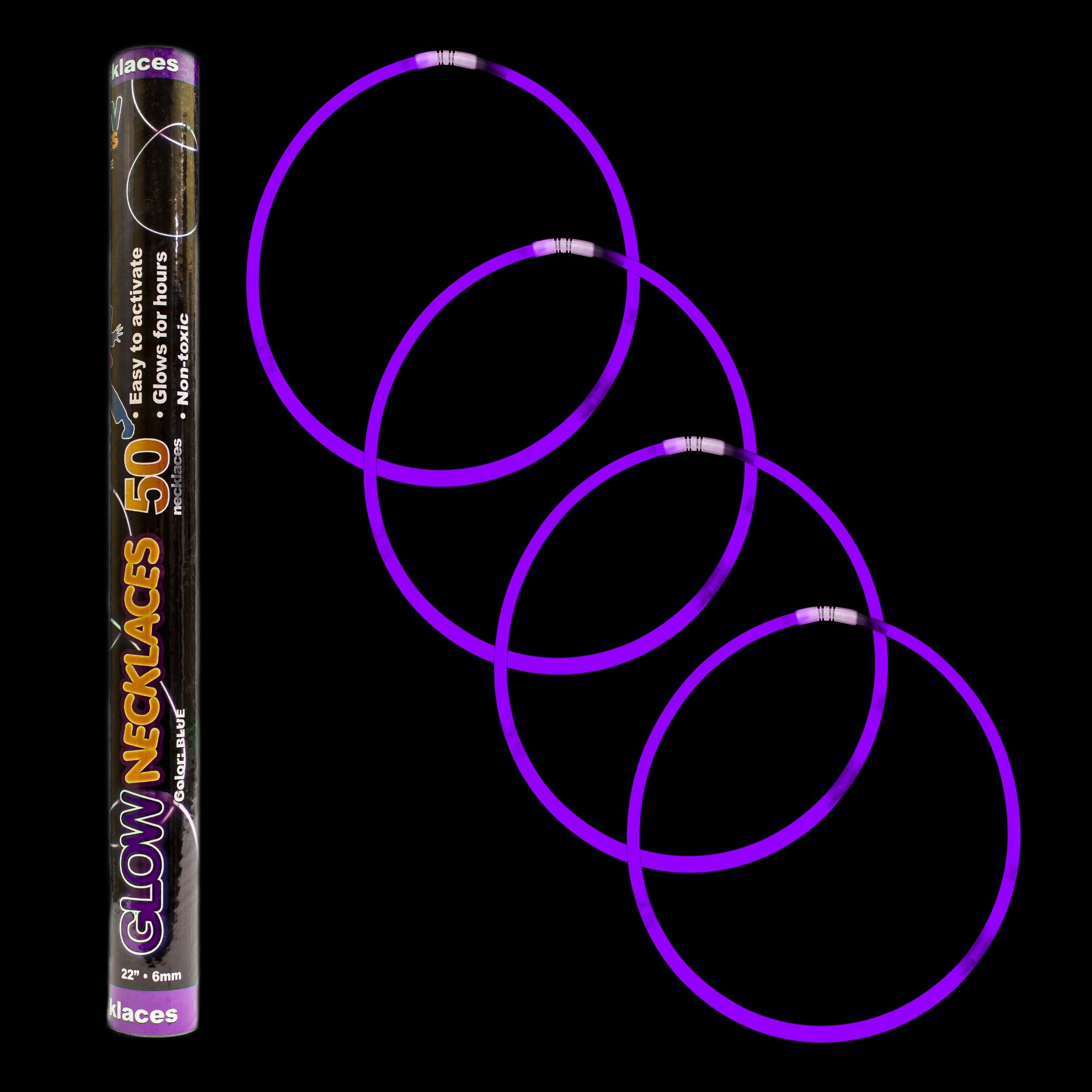 Fun Central J0, 50 Pcs 22 Inches Purple Premium Glow Stick Necklaces, Glowing Necklaces, Glow Stick Necklace for Kids, Glow in the Dark Necklace for Concerts, Glow in the Dark Party
