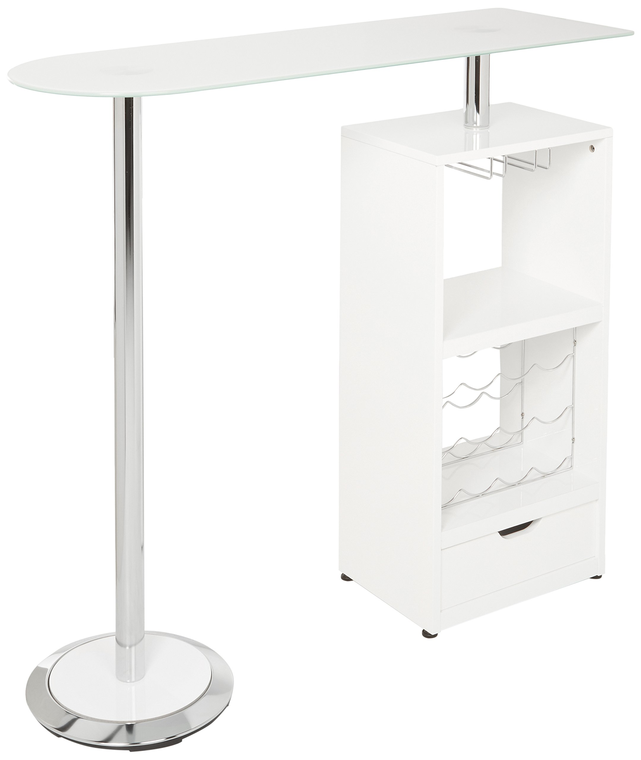 Glass Top Bar Table Glossy White, Chrome and Clear by Coaster Home Furnishings