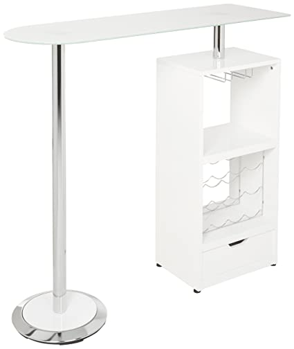Coaster Contemporary Sturdy Tempered Frosted Glass Top White Bar Table