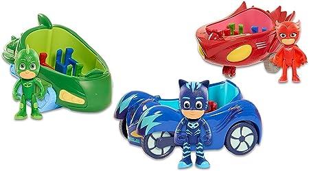 PJ Máscaras Paquete de Vehículos - Owl Glider, Gekko Mobile & Cat Car - 3 ARTÍCULOS