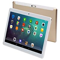 KUBI 10 inch Andriod Tablet, Andriod 7.0 System WiFi Tablet with Ips 1280x800 Touch Screen, 4GB RAM 64GB ROM, Bluetooth and 5.0+8.0MP Dual Camera-Gold