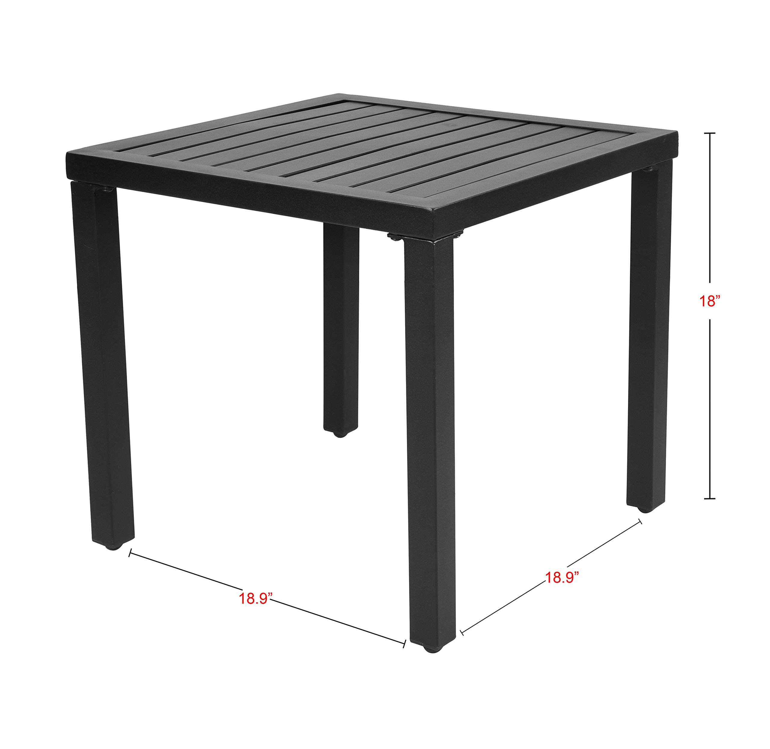 EMERIT Outdoor Metal Square Patio Bistro Side End Table,Black by EMERIT (Image #2)