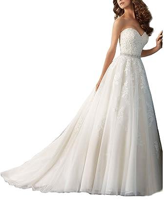 Yasiou Hochzeitskleid Standesamt Damen Vintage Lang Weiss Spitze