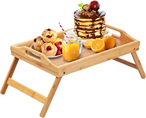Bamboo Bed Tray Table Folding Legs with Handles for Kids,Small Breakfast Tray for Sofa,Bed,Eating,Drawing,Platters Serving Lap Desk Snack Tray