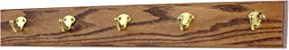 "product image for Oak Coat Rack with Solid Brass Single Style Hooks (Chestnut, 25.5"" x 3.5"" with 5 hooks)"