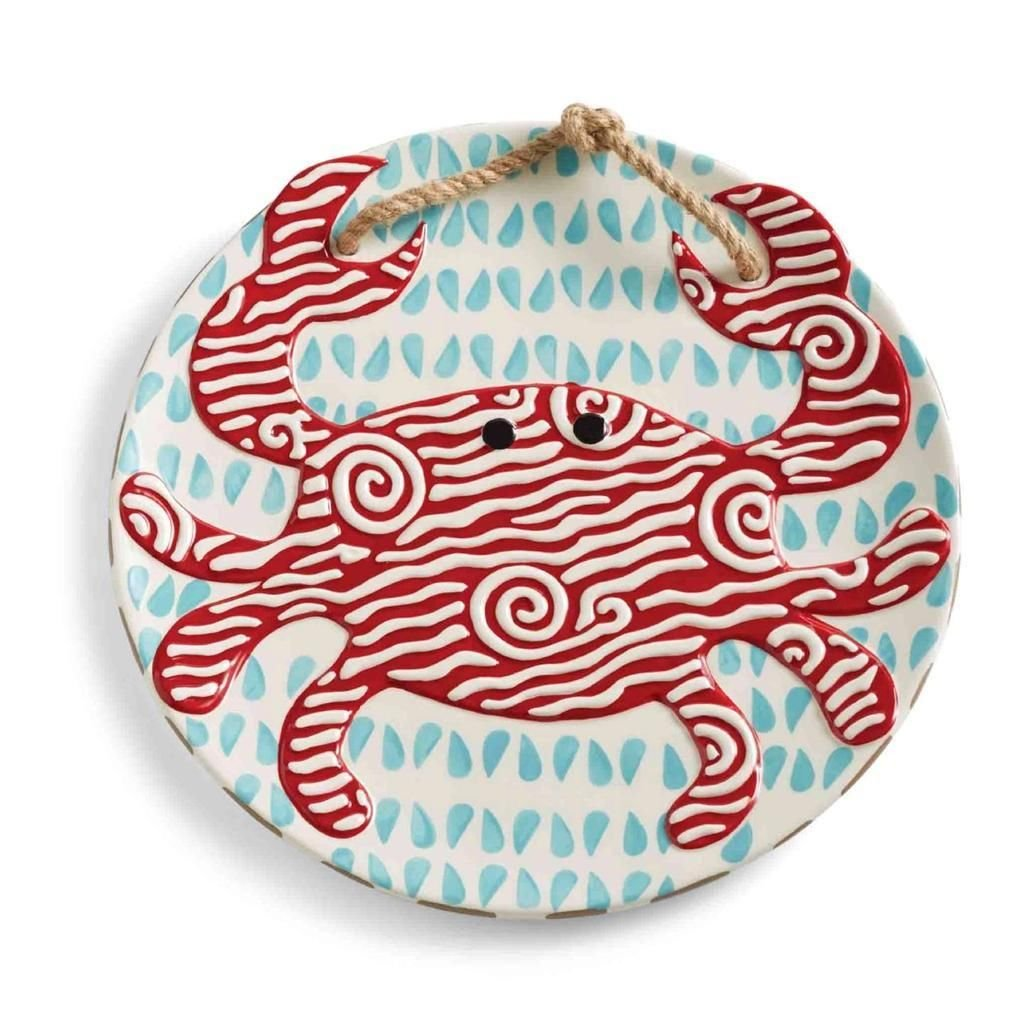 Christmas Tablescape Décor - Mud Pie Classic Red Crab Collection hand-painted ceramic round platter with rope accent handle