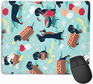 Mouse Pad with Design Cartoon Dachshund Hot Dog Print for Computer Office Gaming