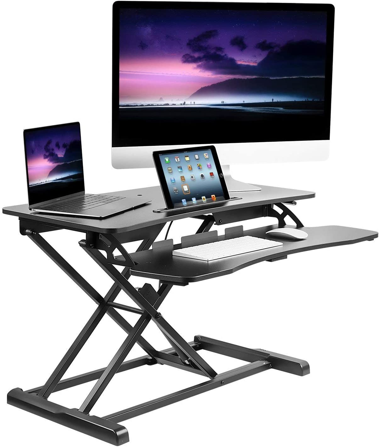 Mount-It Adjustable Standing Desk Converter with Keyboard Tray, Ergonomic Tabletop Sit Stand Worksation 31.5 Wide for Desktop and Laptop Computers
