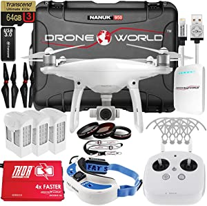 DJI Phantom 4 FPV Executive Kit Bundle With Nanuk 950 Wheeled Case, Fat Shark FPV Goggles, HDMI Module (Installed), 3 Batteries, Thor SuperCharger, Carbon Fiber Propellers, Prop Guards and Accessories