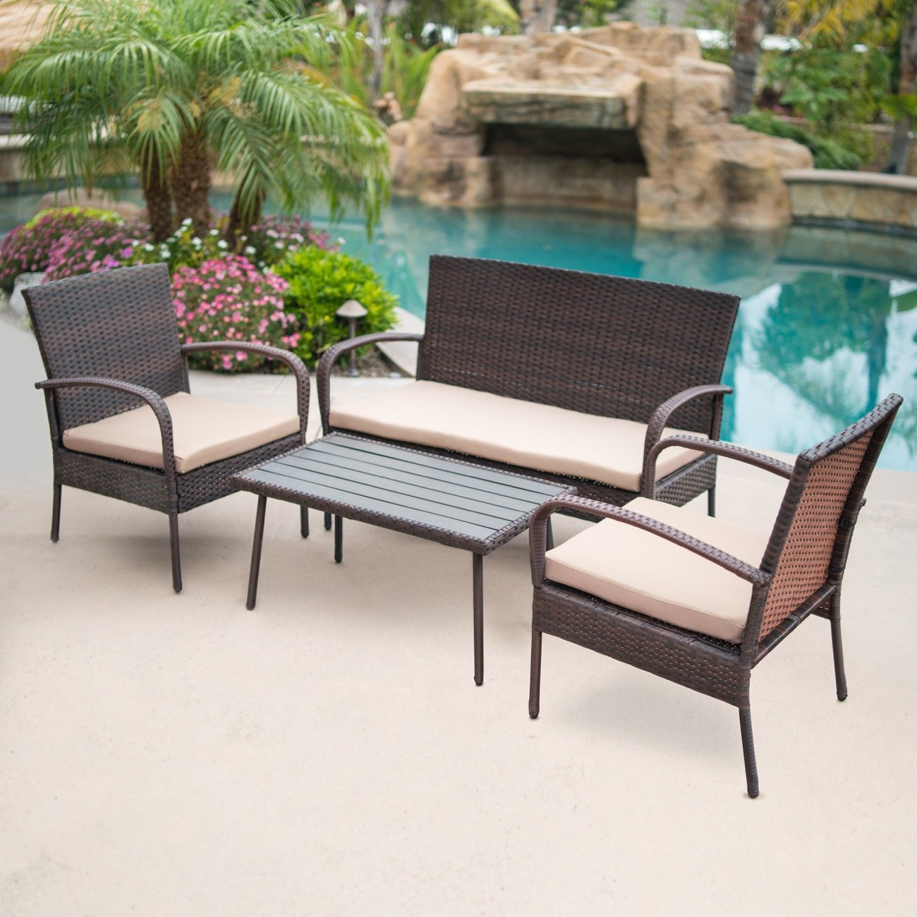 Belleze 4-PC Outdoor Patio Set Furniture Wicker Seat Comfortable Cushion Yard Coffee Table UV Resistant Backyard, Brown