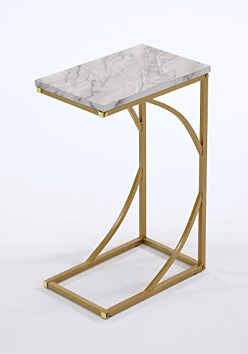 White Marble Faux Finish Gold Frame Snack Side Magazine End Table