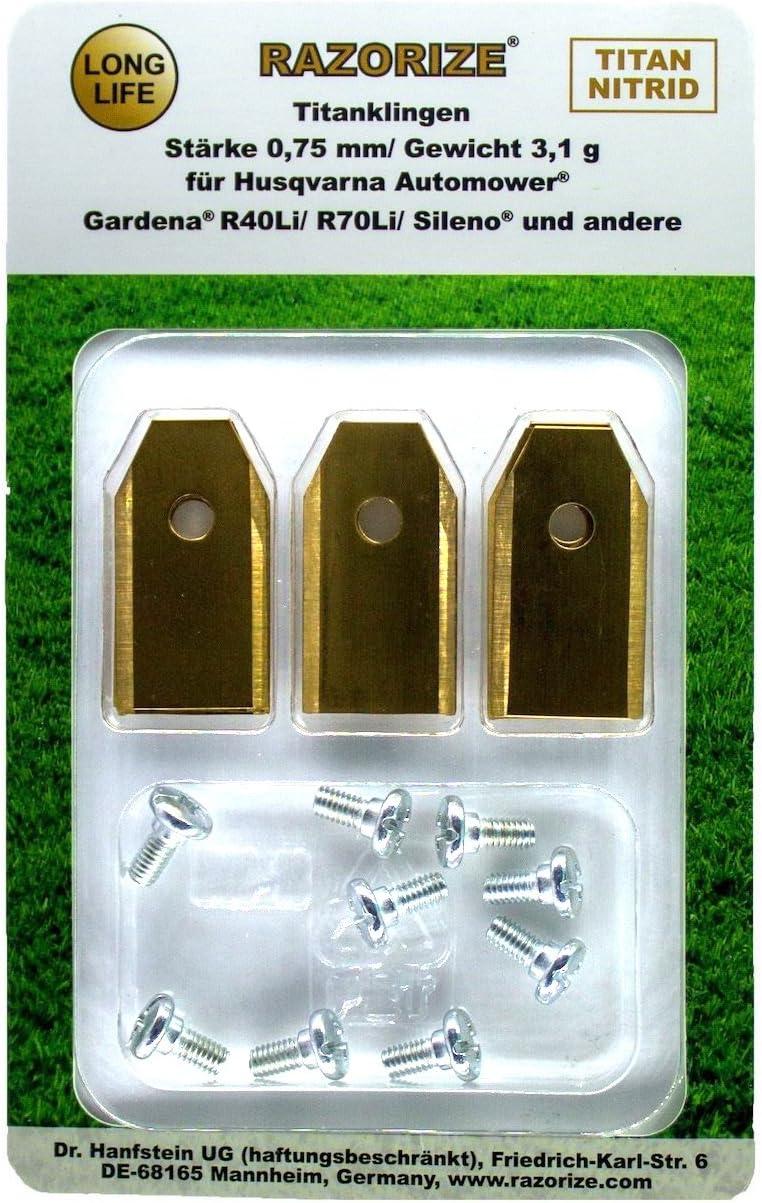 RAZORIZE®. 9x Cuchillas de repuesto de titanio (TiN) para robots cortacéspedes Gardena y Husqvarna Automower. Versión robusta con tornillos (3,1 g/0,75 mm) - 9 piezas