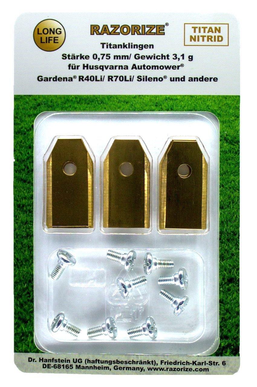 RAZORIZE®. Cuchillas de repuesto de titanio (TiN) para robots cortacéspedes Gardena y Husqvarna Automower. Versión robusta con tornillos (3,1 g/0,75 mm) - 9 piezas