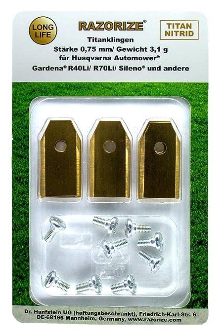 Cuchillas de repuesto de titanio (TiN) para robots cortacéspedes Gardena y