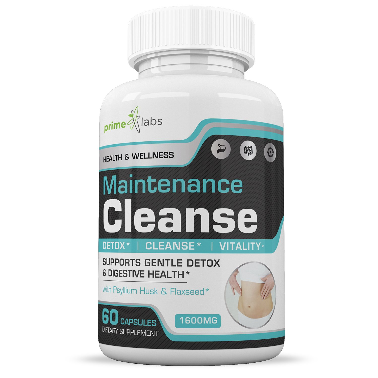 Maintenance Cleanse Colon Support Supplement — Your Daily Pure Maintenance Cleanse, with Fiber to Eliminate Toxins and Lose Weight, Maximum Strength for Increased Energy - 60 Capsules
