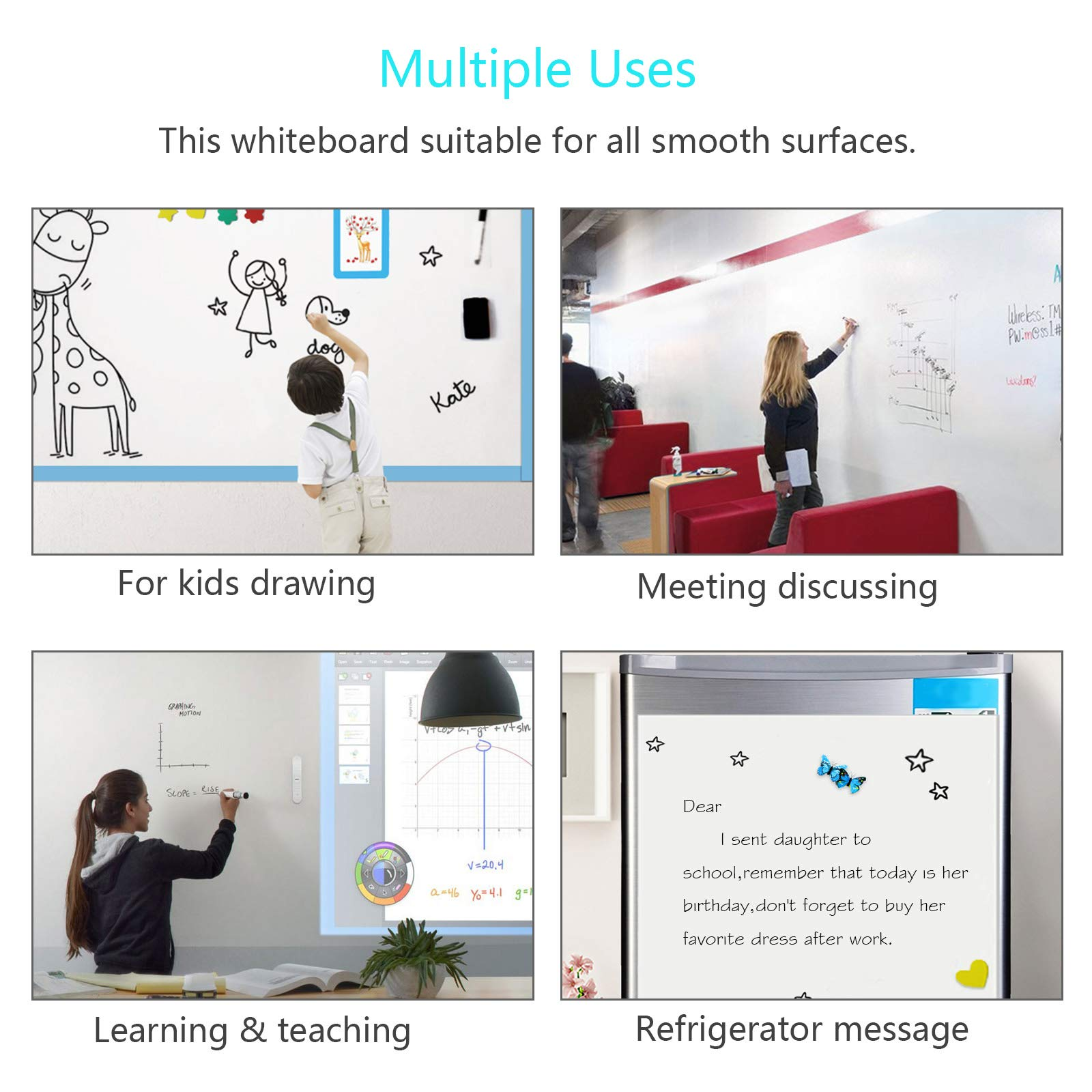 KAKOO Whiteboard Sticker Self-Adhesive Message Board Adjustable Size Wall Decal for Home Room Office Classroom Kids