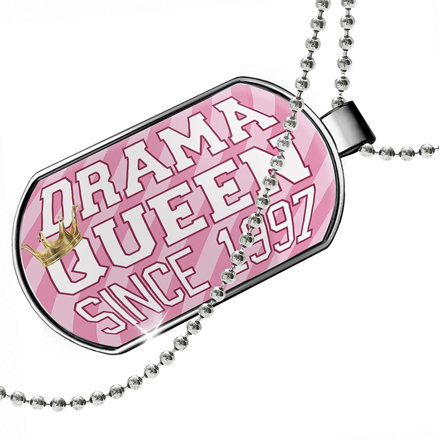 in Pink Dogtag Necklace NEONBLOND Personalized Name Engraved Drama Queen Since 1997