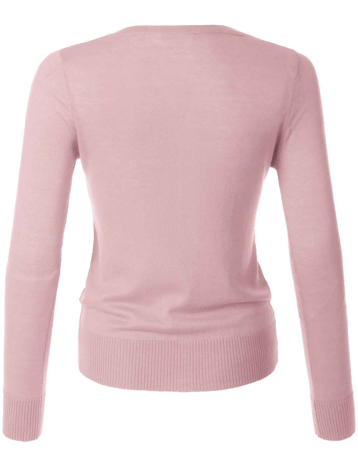 LE3NO Womens Lightweight Round Neck Fine Knit Cardigan Sweater With Stretch by LE3NO (Image #3)
