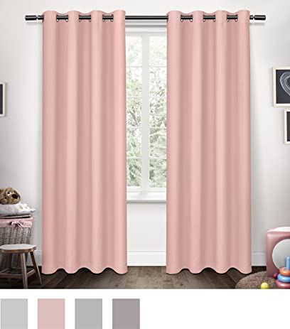 Exclusive Home Curtains Sateen Kids Blackout Grommet Top Window Curtain Panel Pair Bubble Gum Pink