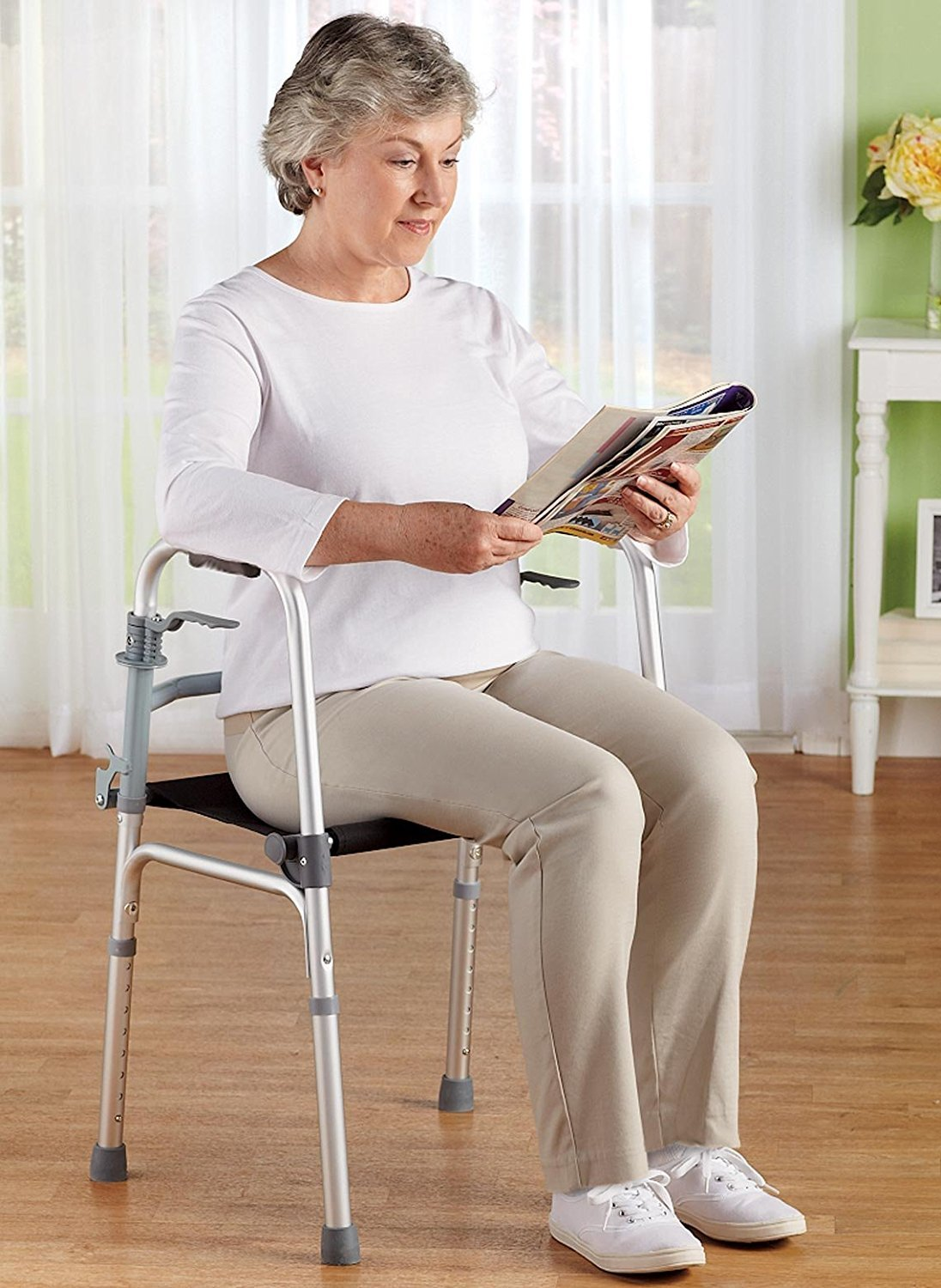 BodyHealt Adjustable Height Walker With Seat - Trigger Release - Folding Walker