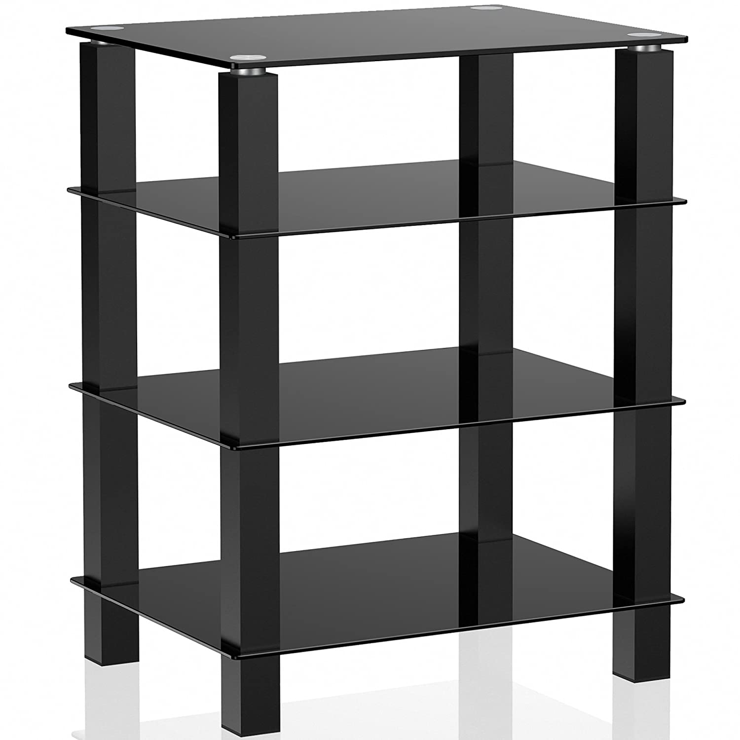 FITUEYES 4-Tier Media Component Stand Audio Cabinet with Glass Shelf for Apple Tv Xbox One ps4 AS406002GB