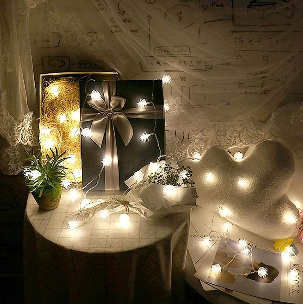 Amazon com bulges 20 light lamps pinecone shape led light string battery box outdoor string lights clothing