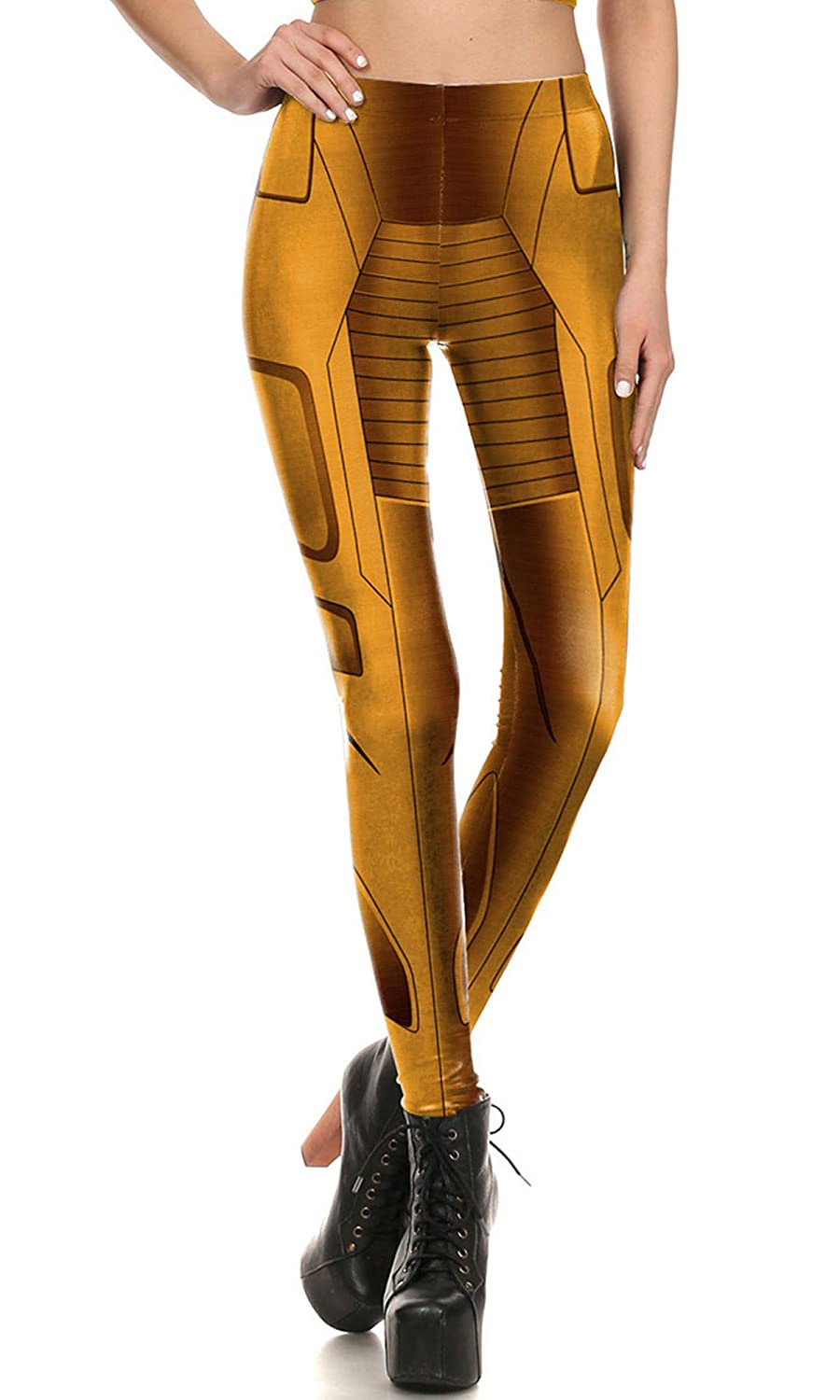 F style Womens 3D Printed Seamless Character Stretch Leggings High Waist Slim Pencil Pants