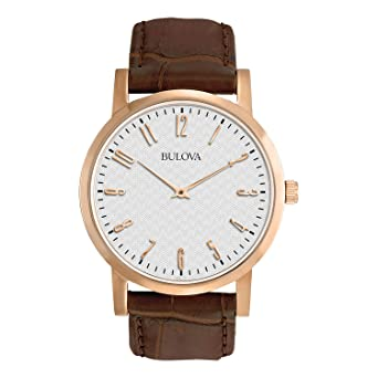 37535d11540 Image Unavailable. Image not available for. Color  Bulova Men s 97A106  Leather Strap Watch