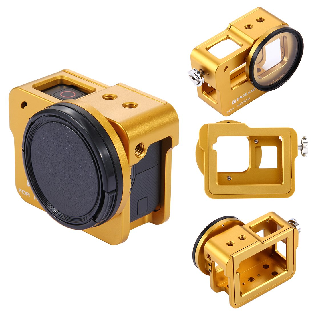PULUZ Housing Shell Case CNC Aluminum Alloy Protective Cage with Insurance Frame & 52mm UV Lens for GoPro HERO 6/ 5 (Gold)