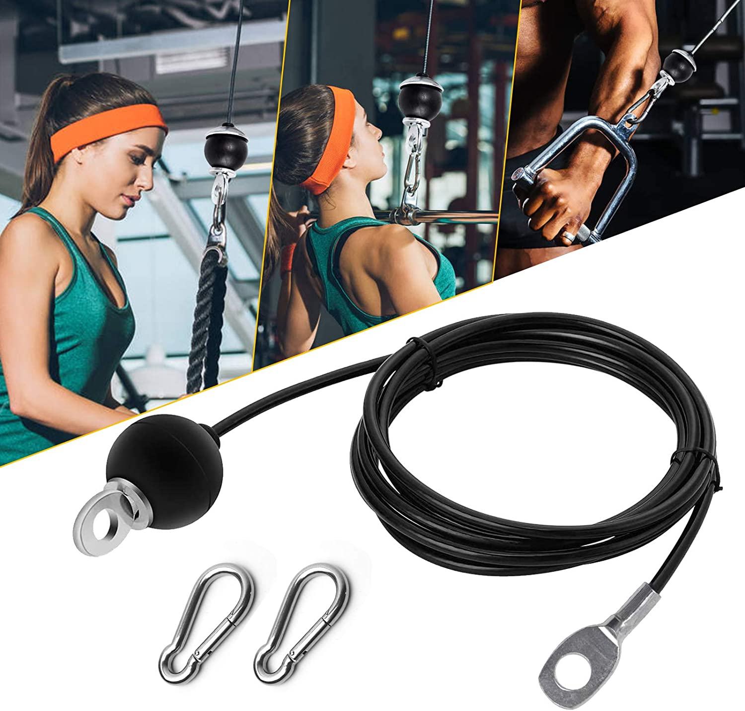 Aoolbic Fitness Replacement Gym Cable for Home Fitness Cable Pulley Machine Accessories,8.2Ft Length Adjustable Heavy Duty Steel Wire Rope,Gym Equipment LAT, Pull Down