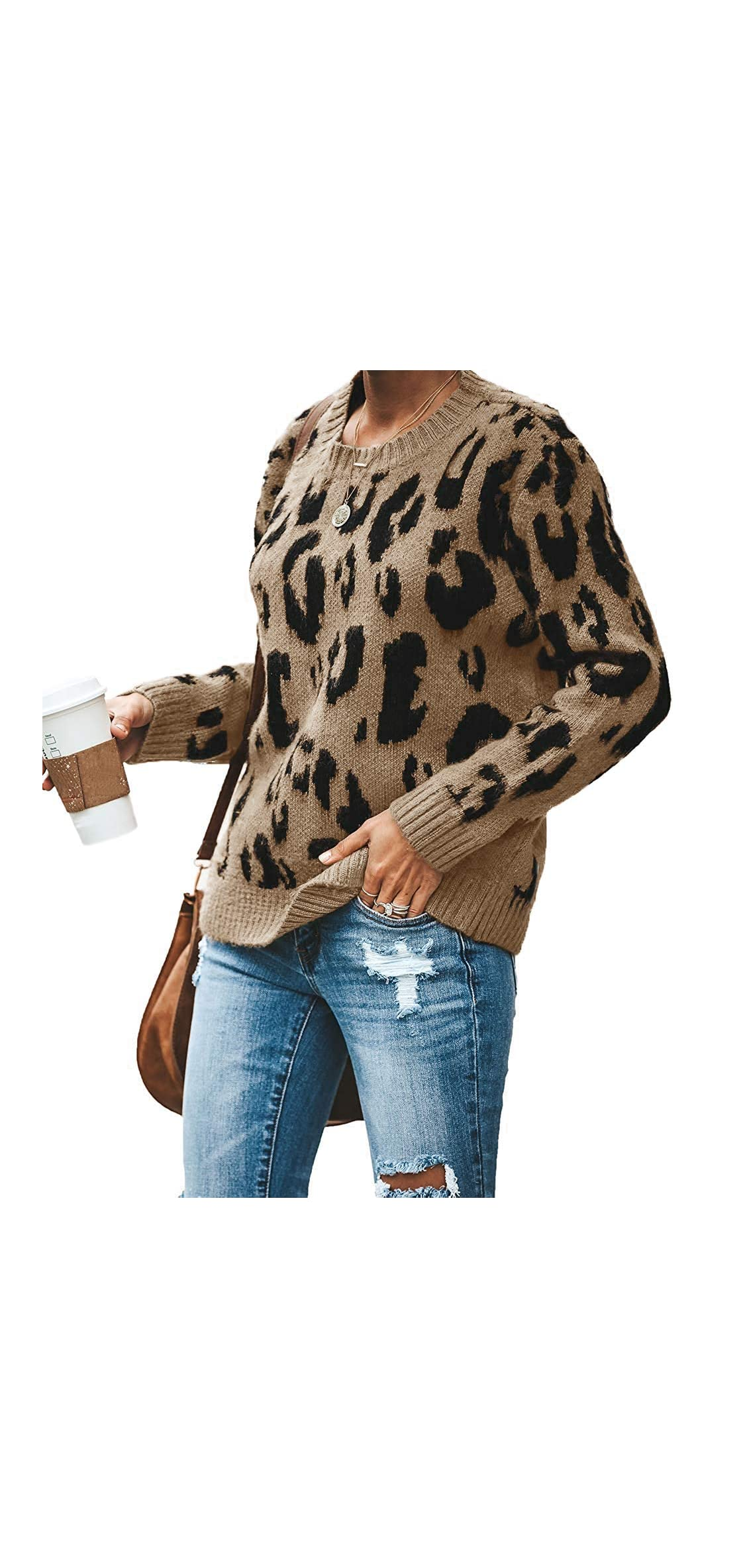 Womens Casual Cute Leopard Print Pullover Loose Fit