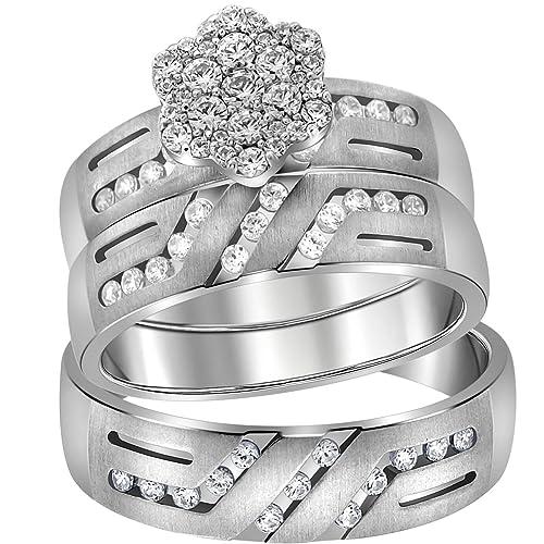 Juego de anillos de boda de oro blanco de 14 quilates para novia y ...
