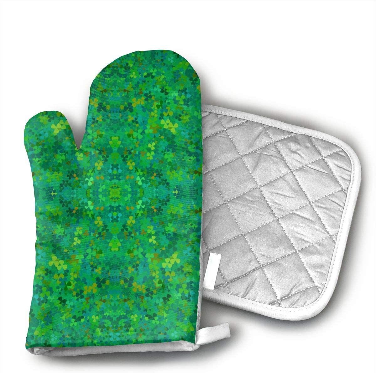 Wiqo9 Bright Shamrocks Oven Mitts and Pot Holders Kitchen Mitten Cooking Gloves,Cooking, Baking, BBQ.