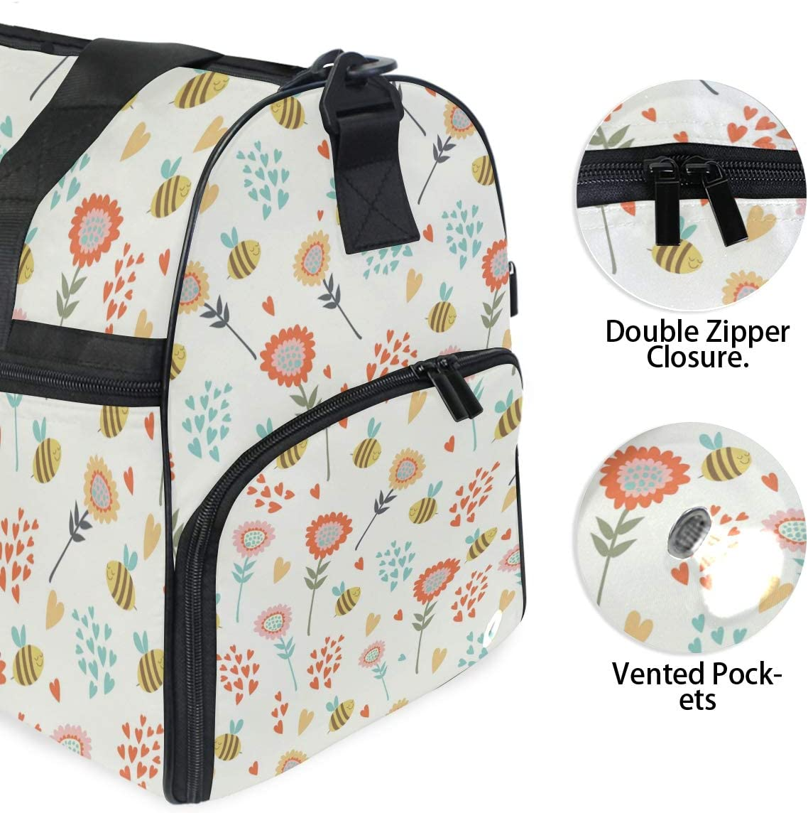 Travel Duffels Bee And Floral Background Duffle Bag Luggage Sports Gym for Women /& Men