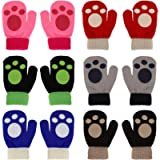 QKURT Toddler Mittens, 6Pack Baby Winter Mittens, Winter Knitted Mittens for 2~5 Year Old Baby Girls Boys School Playing