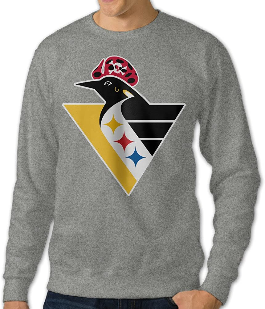 BestGifts Men's Pittsburgh Sports Logo Mixd Crew Neck Sweatshirt Ash