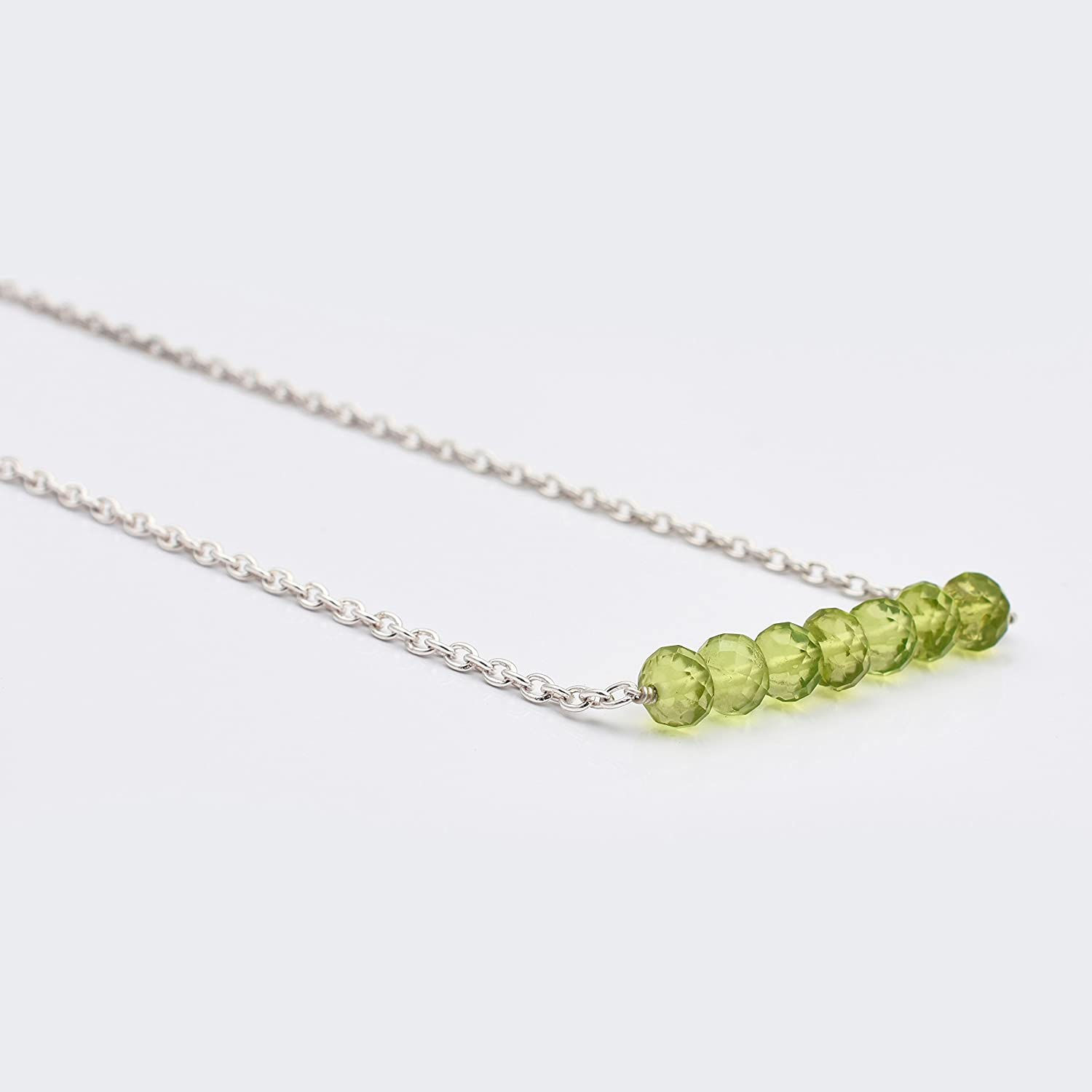 Peridot Beads Bar Necklace with Sterling Silver Chain Handmade Gemstone Beaded Jewelry 16'