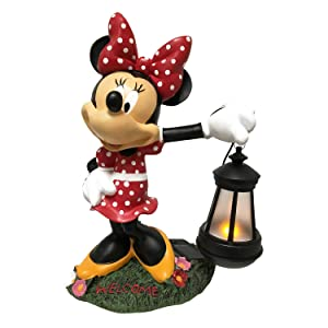 The Galway Company Classic Disney Minnie Mouse Solar LED Lighted Lantern Outdoor Statue, Hand-Painted, Large 12.5 Inches Tall, Official Disney Licensed Product