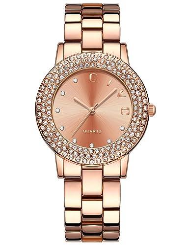 CIVO Reloj de Cuarzo para Mujer con Correa de Acero Inoxidable Rosa de Oro Mujeres Sencillo