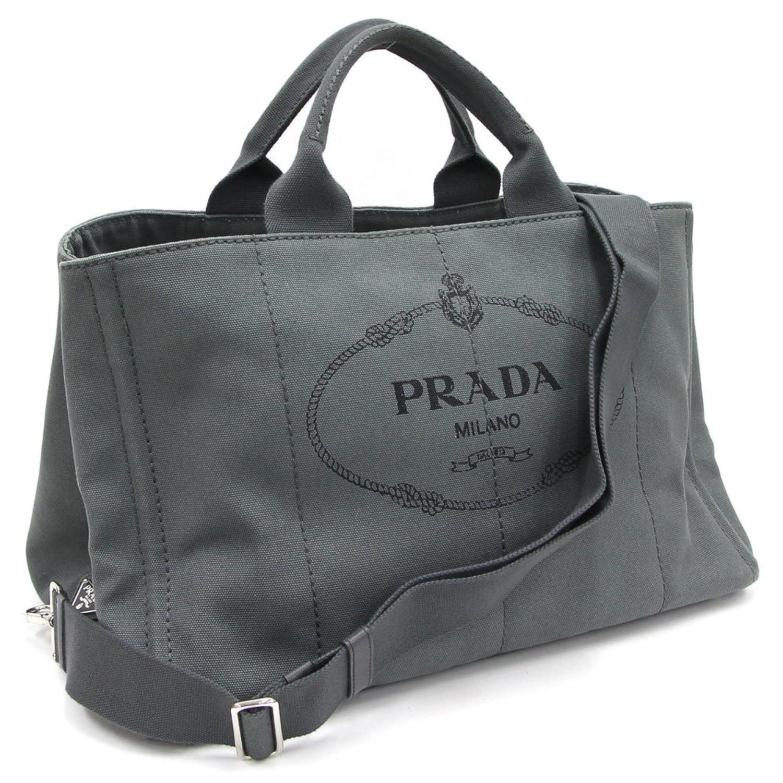 PRADA(プラダ) 2WAYトートバッグ カナパ グレー キャンバス 中古 メンズ レディース 鞄 ストラップ付き PRADA [並行輸入品] B07FN77YHP