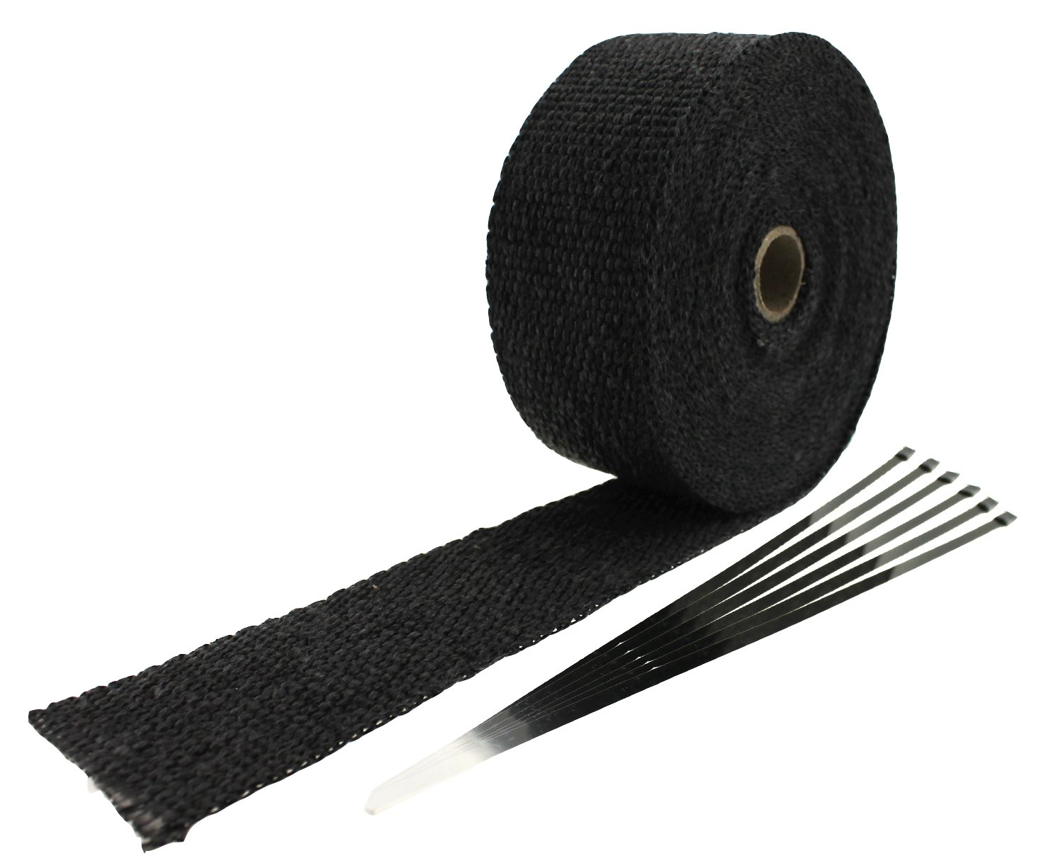 Black Ambuker 2 x 32.8 Exhaust Heat Wrap Roll for Motorcycle Fiberglass Heat Shield Tape with 6 Stainless Ties