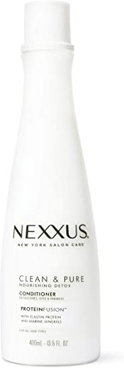 Nexxus Clean and Pure Conditioner Nourished Hair Care, With ProteinFusion, Silicone, Dye, and Paraben Free 13.5 oz