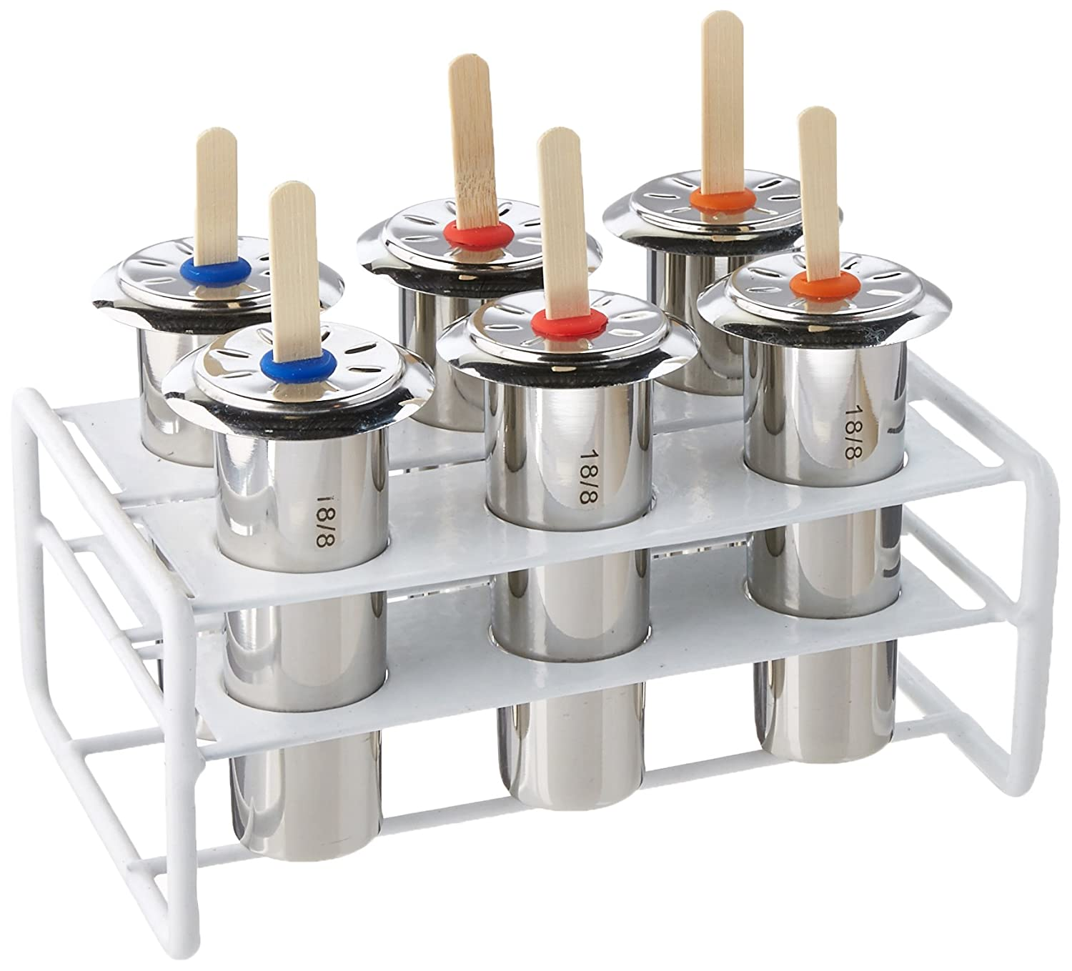 Ice Lolly Mold Stainless Steel Popsicle 6 Piece Mold and Rack Set Popsicle Mold