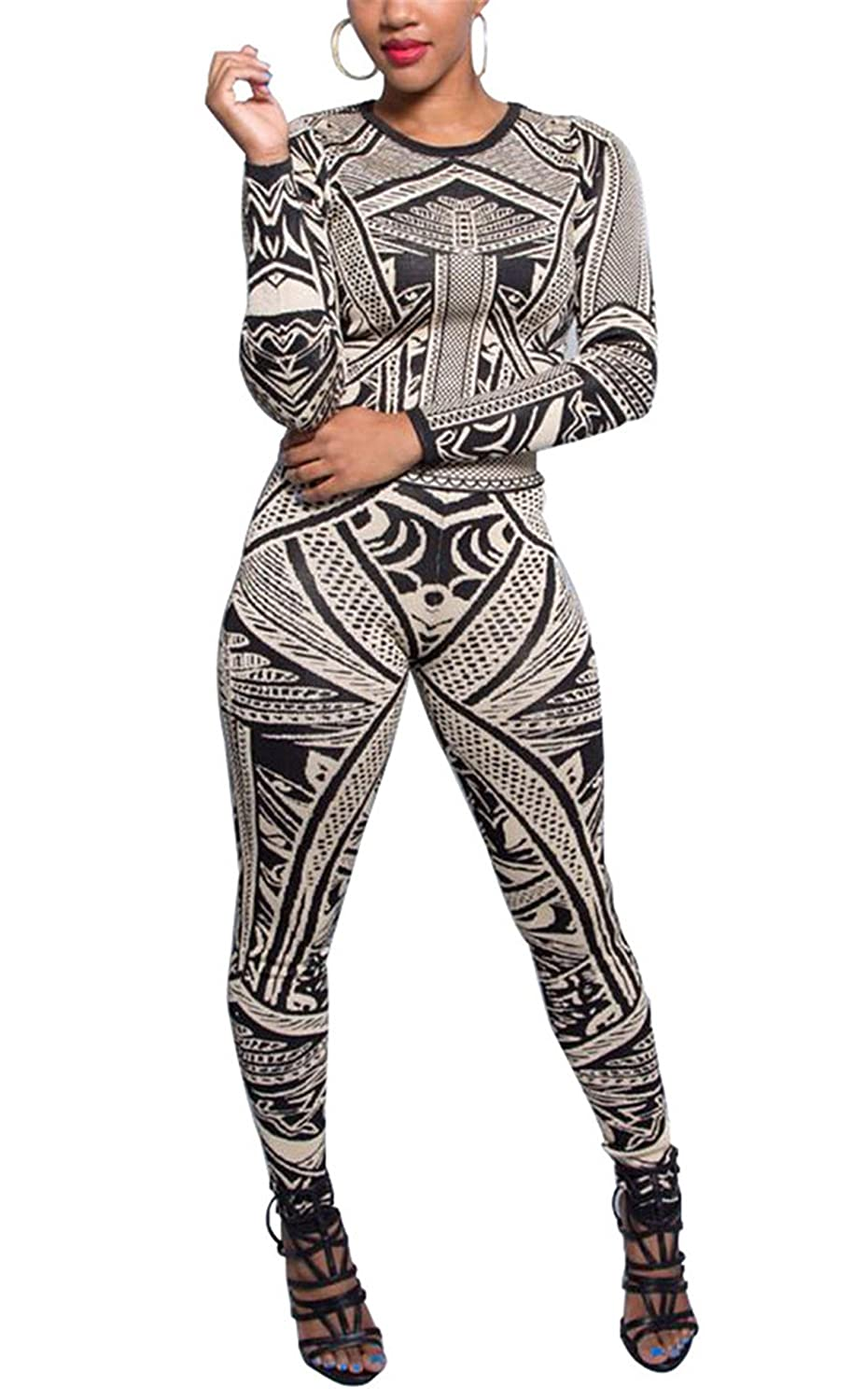 e252cb079697 Amazon.com  Allonly Women Long Sleeve Printed Blouse Pants Two Pieces  Jumpsuit Rompers Suits  Clothing